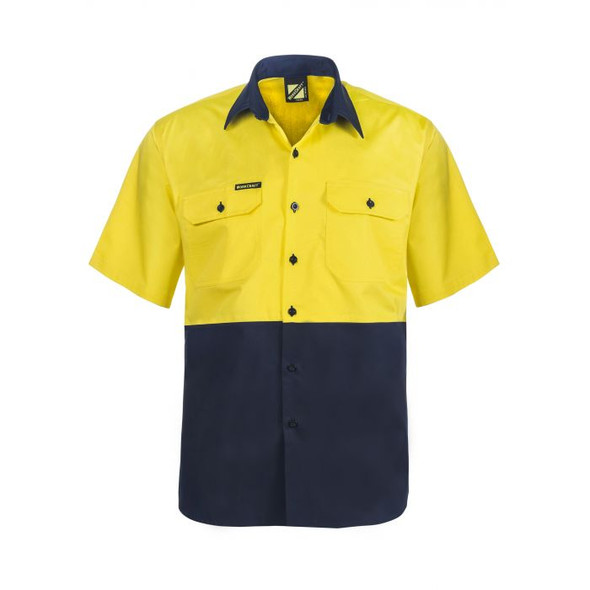 Lightweight Hi Vis Two Tone Short Sleeve Vented Cotton Drill Shirt WS4248