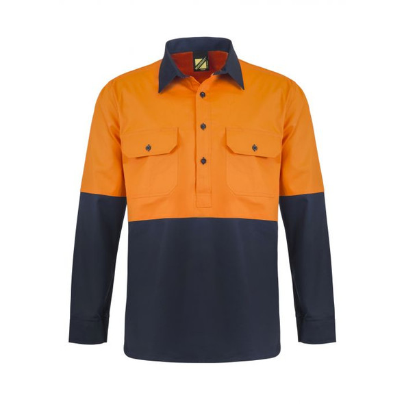 Lightweight Hi Vis Two Tone Half Placket Vented Cotton Drill shirt With Semi Gusset Sleeves WS4255