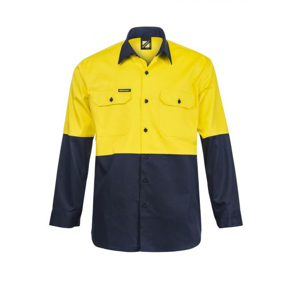 Hi Vis Two Tone Long Sleeve Cotton Drill Shirt WS3022