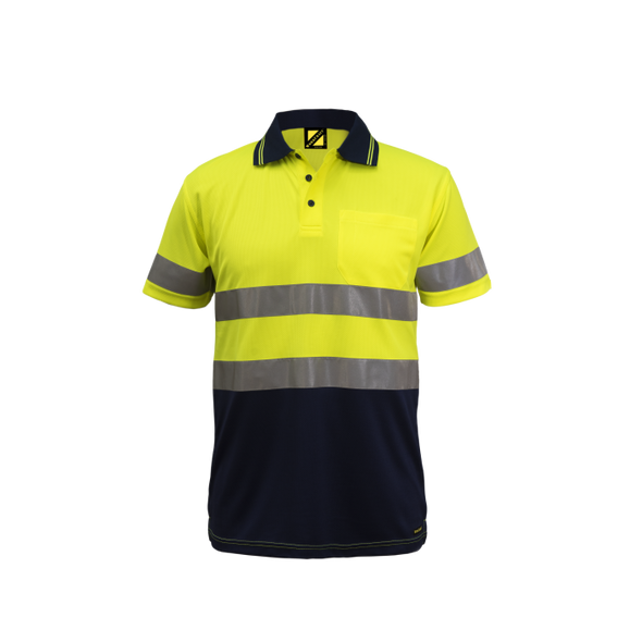 Hi Vis Two Tone Short Sleeve Micromesh Polo With Pocket and Csr Reflective Tape WSP410
