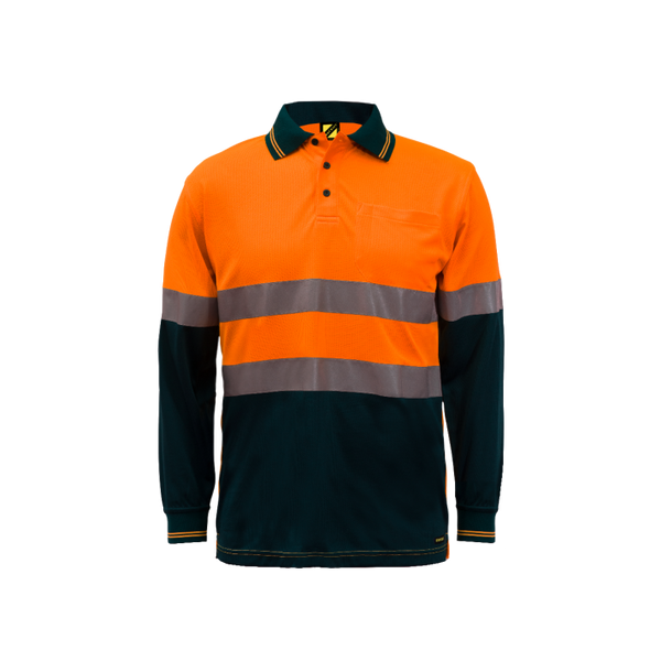 Hi Vis Two Tone Long Sleeve Micromesh Polo With Pocket and Csr Reflective Tape WSP409