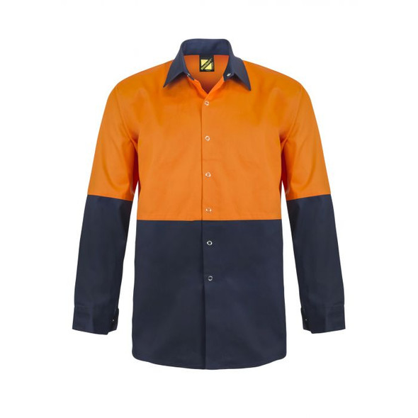 Hi Vis Two Tone Long Sleeve Cotton Drill Food Industry Shirt With press Studs And No Pockets WS3035