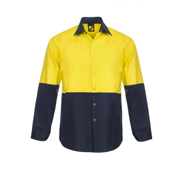 Lightweight Hi Vis Two Tone Long Sleeve Vented Cotton Drill Food industry Shirt With Press Studs And No Pockets WS3045
