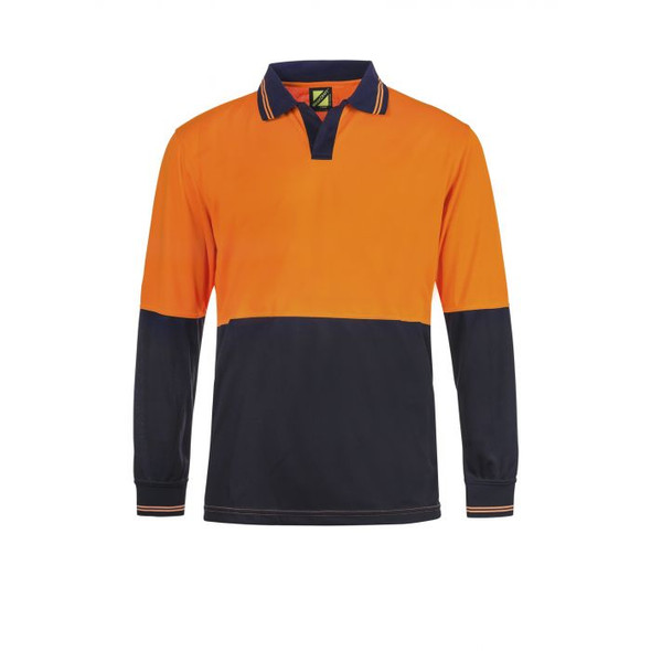 Hi Vis Two Tone Food Industry Long Sleeve Micromesh Polo with No Pocket Or Buttons WSP206