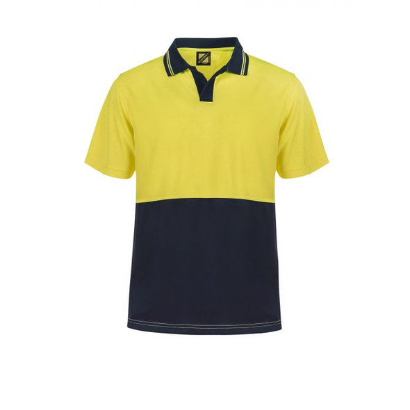 Hi Vis Two Tone Food Industry Short Sleeve Micromesh Polo with No Pocket Or Buttons WSP205