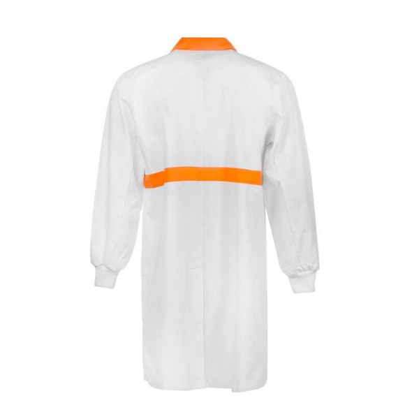 Food Industry Dustcoat With Contrast Collar, Chestband, internal Patch Pockets - Long Sleeve WJ3085