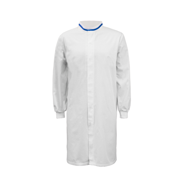 Food Industry Long Length Dustcoat With Mandarin Collar, contrast Trims On Collar And Chest - Long Sleeve WJ3197