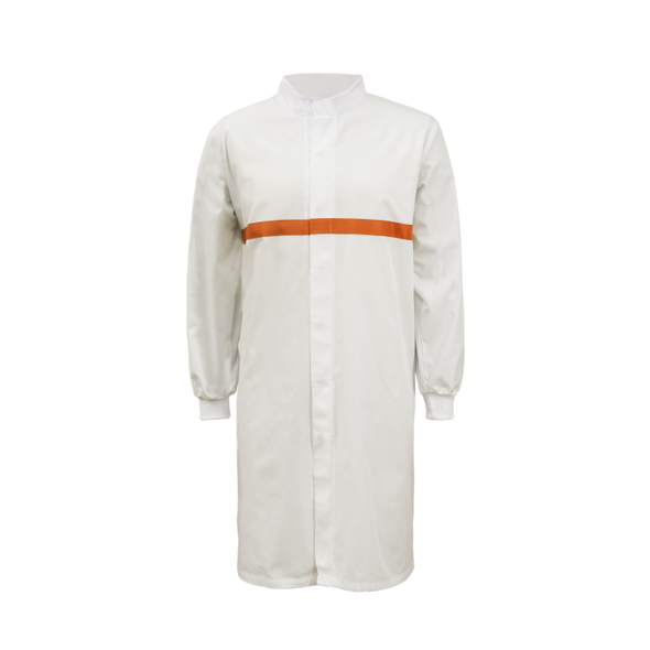 Food Industry Long Length Dustcoat With Mandarin Collar, contrast Trims On Chest - Long Sleeve WJ3198