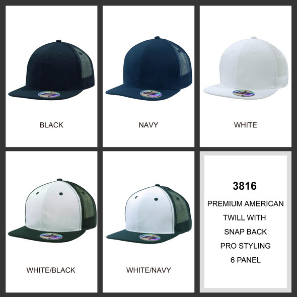 Premium American Twill with Snap Back Pro Sticker HW 3816