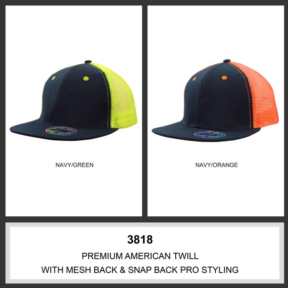 Premium American Twill with Mesh Back & Snap Back Pro Styling HW 3818