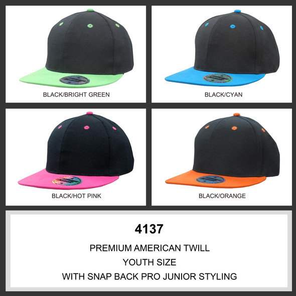 Premium American Twill Youth Size with Snap Back Pro Junior Styling HW 4137