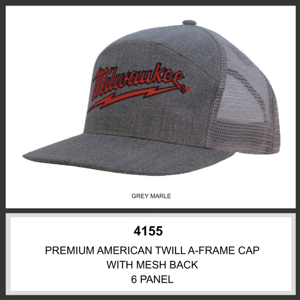 Premium American Twill A Frame Cap with Mesh Back HW 4155