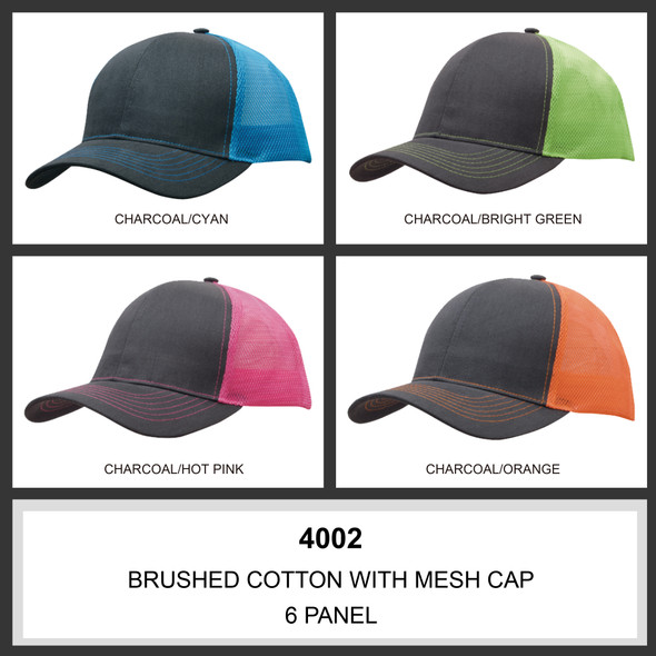 Brushed Cotton with Mesh Back Cap HW 4002