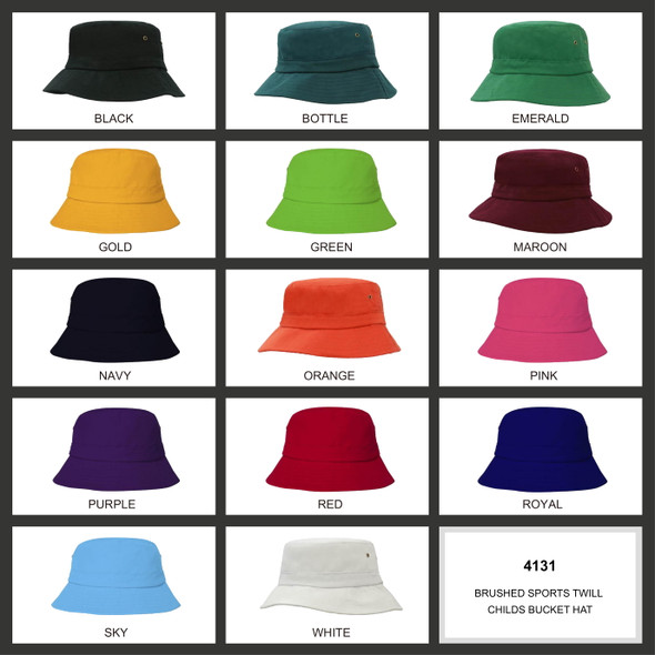 Brushed Sports Twill Youth Bucket Hat HW 4133