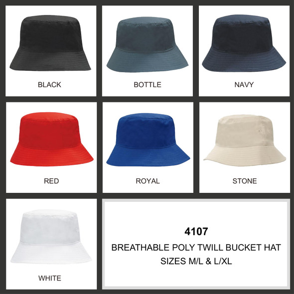 Breathable Poly Twill Bucket Hat HW 4107