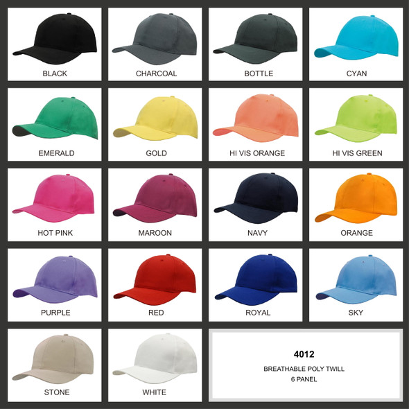 Breathable Poly Twill Cap HW 4012