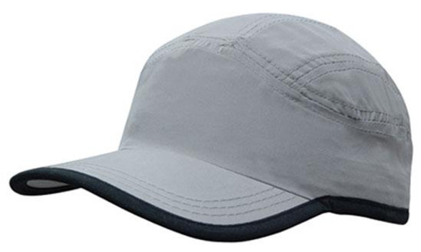 Microfibre Sports Cap with Trim on Edge of Crown & Peak HW 4094