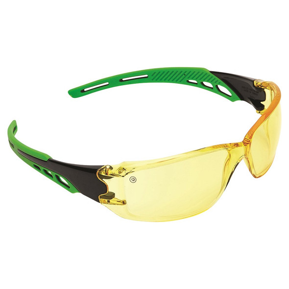 CIRRUS GREEN ARMS SAFETY GLASSES AMBER A/F LENS PK 12 : 9185