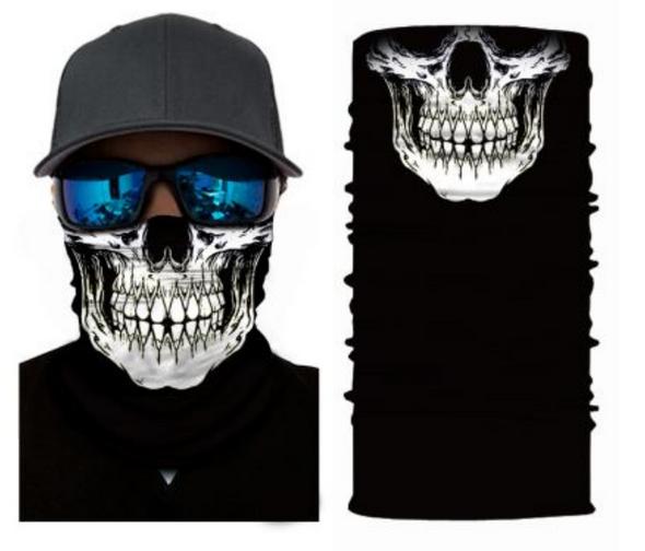 Simba Bandana face mask Neck Gaiter Skull 1 White S30