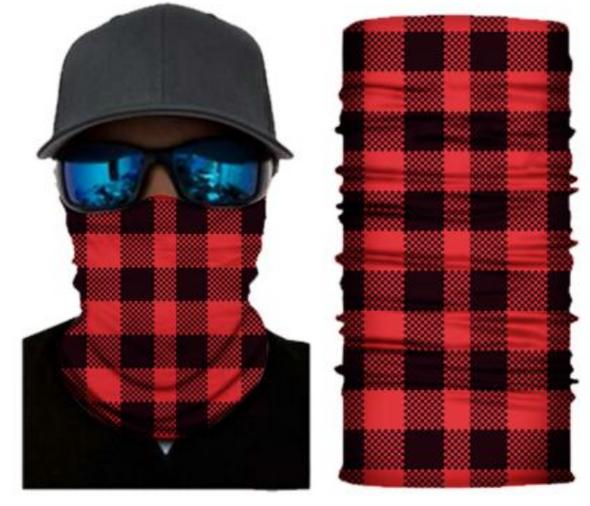 Simba Bandana face mask Neck Lumber Jack Black/Red S126