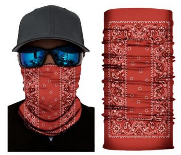 Simba Bandana face mask Neck Gaiter Rectangle Paisley Red S157