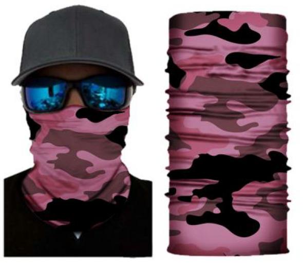 Simba Bandana face mask Neck Gaiter Camo Pink/Black/Grey S179