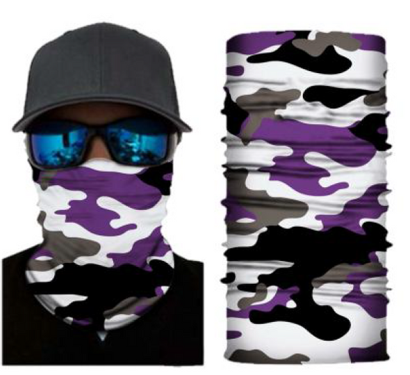 Simba Bandana face mask Neck Gaiter Camo Purple S182
