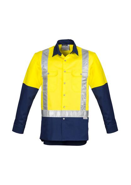 ZW124 Mens Vented Hi Vis Spliced Industrial Shirt - Shoulder Taped