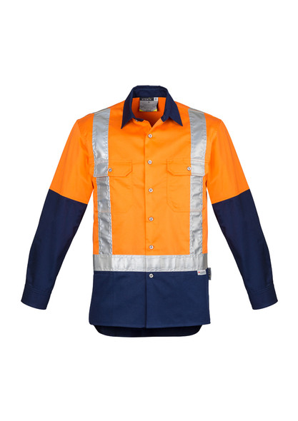 ZW124  MENS HI VIS SPLICED INDUSTRIAL SHIRT - SHOULDER TAPED