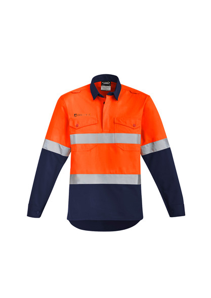 ZW143  MENS ORANGE FLAME HRC 2 HOOP TAPED CLOSED FRONT SPLICED SHIRT