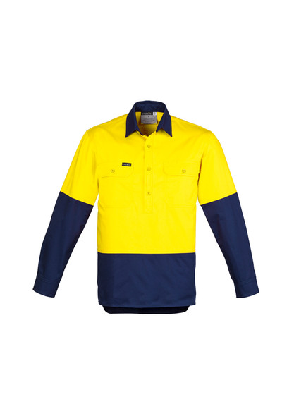 ZW560  MENS HI VIS CLOSED FRONT L/S SHIRT