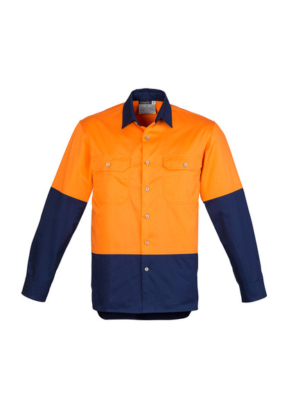 ZW122 Mens Vented Hi Vis Spliced Industrial Shirt