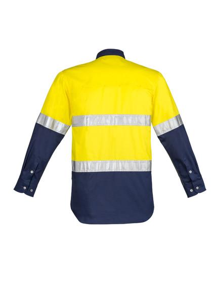 ZW123 Mens Hi Vis Vented Spliced Industrial Shirt - Hoop Taped