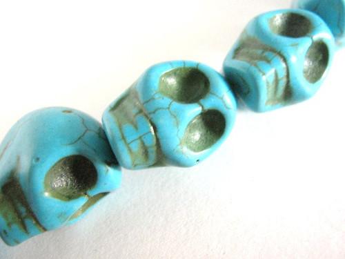Turquoise howlite 15x18mm skull gemstone bead