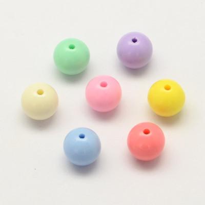 Opaque pastel 6mm round acrylic beads