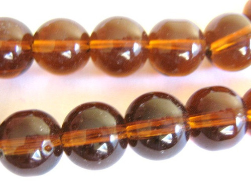 Brown 10mm round glass beads