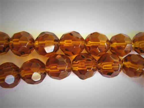 8mm faceted round brown glass beads