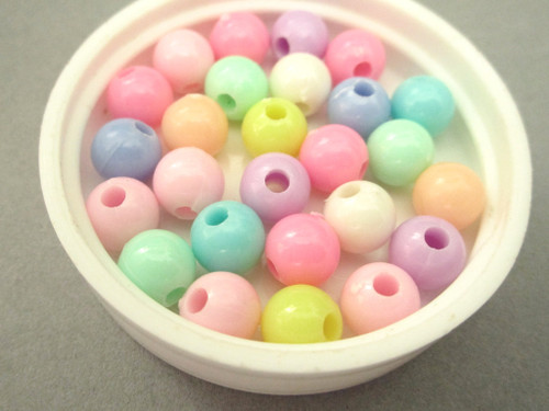 Assorted pastel 8mm round acrylic beads