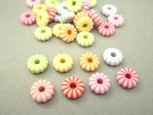 Assorted opaque 9mm fluted rondelle spacer acrylic beads