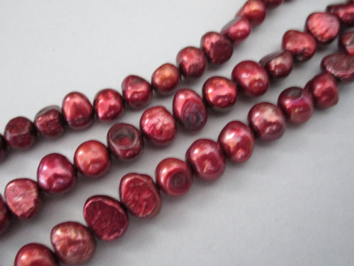 Red 8mm potato freshwater pearl beads