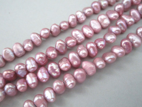 Pink violet 6-8mm potato freshwater pearl beads