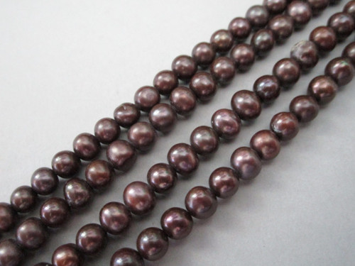 Brown 5mm round freshwater pearl beads