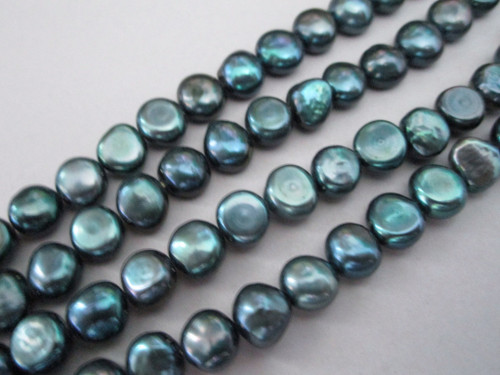 Blue peacock 8mm potato freshwater pearl beads