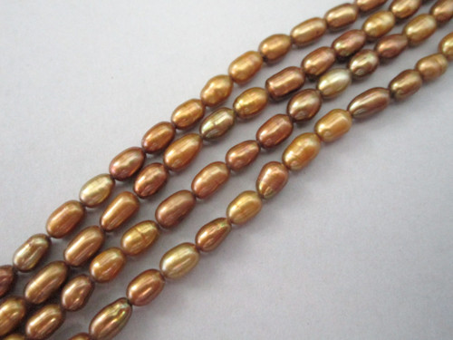 Gold bronze rice freshwater pearl beads