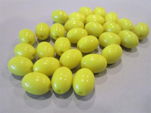 Opaque yellow 12x9mm oval acrylic beads