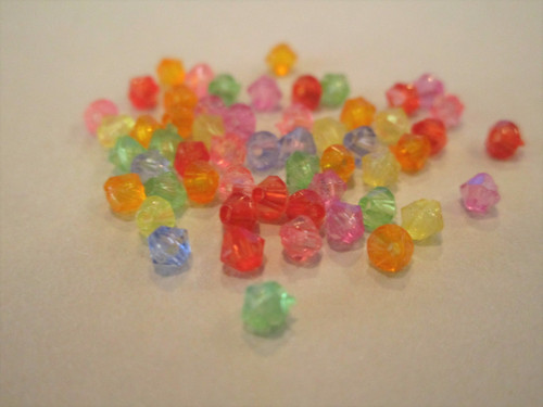Transparent assorted 3mm faceted bicone acrylic beads