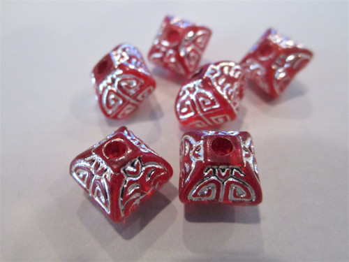 Red Silver Etched 12mm Bicone Lantern Acrylic Beads