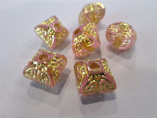 Pink Gold Etched 12mm Bicone Lantern Acrylic Beads