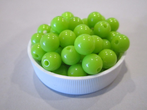 Opaque green 8mm round acrylic beads
