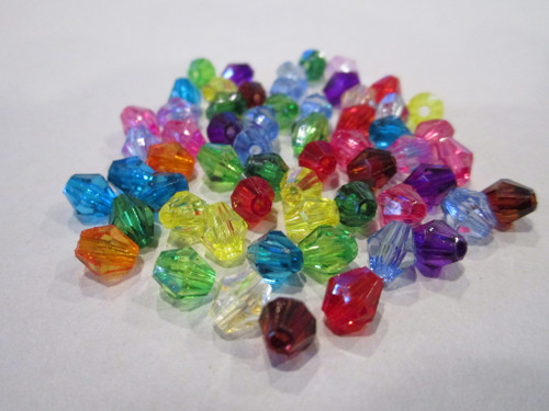 Transparent assorted 6mm faceted bicone acrylic beads